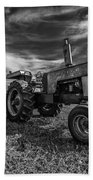 Old White Tractor In The Field Beach Towel