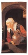 Old Woman Watering Flowers 1665 Beach Towel