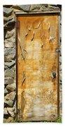 Old Wood Door And Stone - Vertical  Beach Towel
