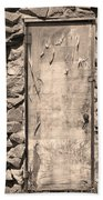 Old Wood Door  And Stone - Vertical Sepia Bw Beach Towel