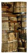Old Wood Whiskey Barrels Beach Towel