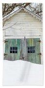 Old Wooden Garage In The Snow Woodstock Vermont Beach Towel