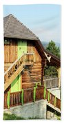 Old Wooden House On Mountain Landscape Beach Towel