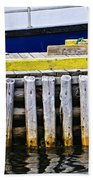 Old Wooden Pier In Newfoundland Beach Towel