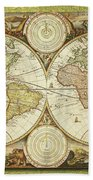 Old World Map On Gold Beach Towel