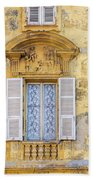 Old Yellow Building With Lace Curtain In Nice, France Beach Towel