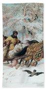 Olenka And Kmicic In A Sleigh, 1885 Beach Towel
