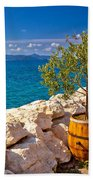 Olive Tree In Barrel By The Sea Beach Towel