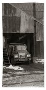 Olyphant Pa Coal Breaker Loading Trucks And Gondola Car Winter 1971 Beach Towel