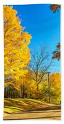 On A Country Road 6 - Paint Beach Towel