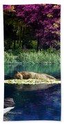 On A Lake Beach Towel by Svetlana Sewell