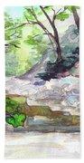 On A Mountain River Beach Towel