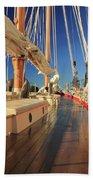 On Deck Of The Schooner Eastwind Beach Towel