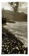 On The Rocks Bw Beach Towel