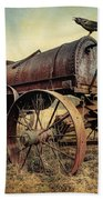 On The Water Wagon - Agricultural Relic Beach Towel by Gary Heller