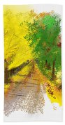 On The Yellow Road Beach Towel