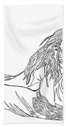 One Line Drawing Lovers On The Beach Beach Towel