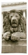 One Of Four Lion Statues Outside St George's Hall Liverpool Beach Towel