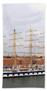 One Of Star Clipper's Masted Cruise Liners Docked In Venice Italy Beach Sheet