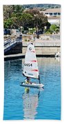 One-person Sailboats By The Commercial Pier In Monterey-california Beach Towel
