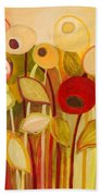 One Red Posie Beach Towel by Jennifer Lommers