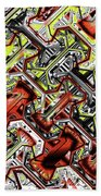One Version Yellow And Red Abstract Beach Towel