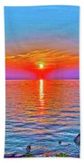 Oneida Lake Sunset Art Beach Towel