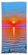Oneida Lake Sunset Art Beach Sheet