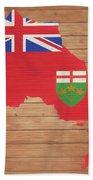 Ontario Rustic Map On Wood Beach Towel