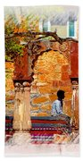 Open Air Bed Among The Arches India Rajasthan 1a Beach Towel