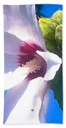 Open Hibiscus Flower With Deep Blue Sky Beach Towel