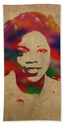 Oprah Winfrey Vintage 1978 Watercolor Portrait Beach Sheet
