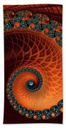 Orange And Aqua Spiral Beach Towel