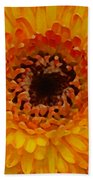 Orange And Black Gerber Center Beach Towel