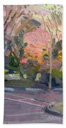 Orange And Pink Sunset Beach Towel