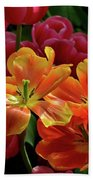 Orange And Red Tulip Lilies In Various Stages Of Bloom Beach Towel