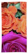 Orange And White With Pink Tip Roses Beach Towel