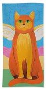 Orange Angel Cat Beach Towel