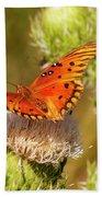 Orange Butterfly Beach Towel
