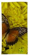 Orange Butterfly On Yellow Mums Beach Towel