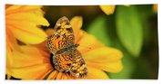 Orange Crescent Butterfly Beach Towel