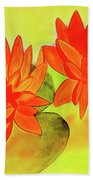 Orange Waterlily Watercolor Painting Beach Towel