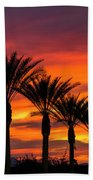 Orange Dream Palm Sunset  Beach Towel