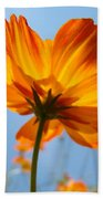 Orange Floral Summer Flower Art Print Daisy Type Blue Sky Baslee Troutman Beach Towel