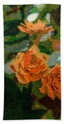 Orange Flower Abstract Beach Towel