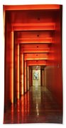 Orange Hallway Beach Towel