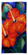 Orange Hibiscus Beach Towel by Lil Taylor