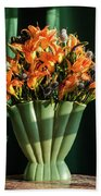 Orange Lilies In June Beach Towel