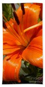 Orange Lily Beach Towel