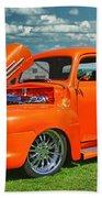 Orange Pick Up At The Car Show Beach Towel